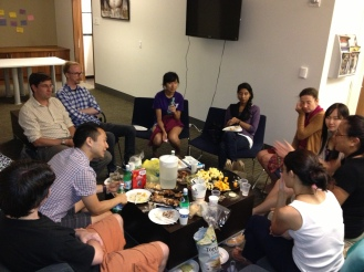 Some of the Grad Christian Fellowship, meeting for this semester's first fellowship dinner and Bible study.  That little dinner circle represents future leaders in a variety of disciplines--chemistry, economics, history, political science, linguistics--from four nations.