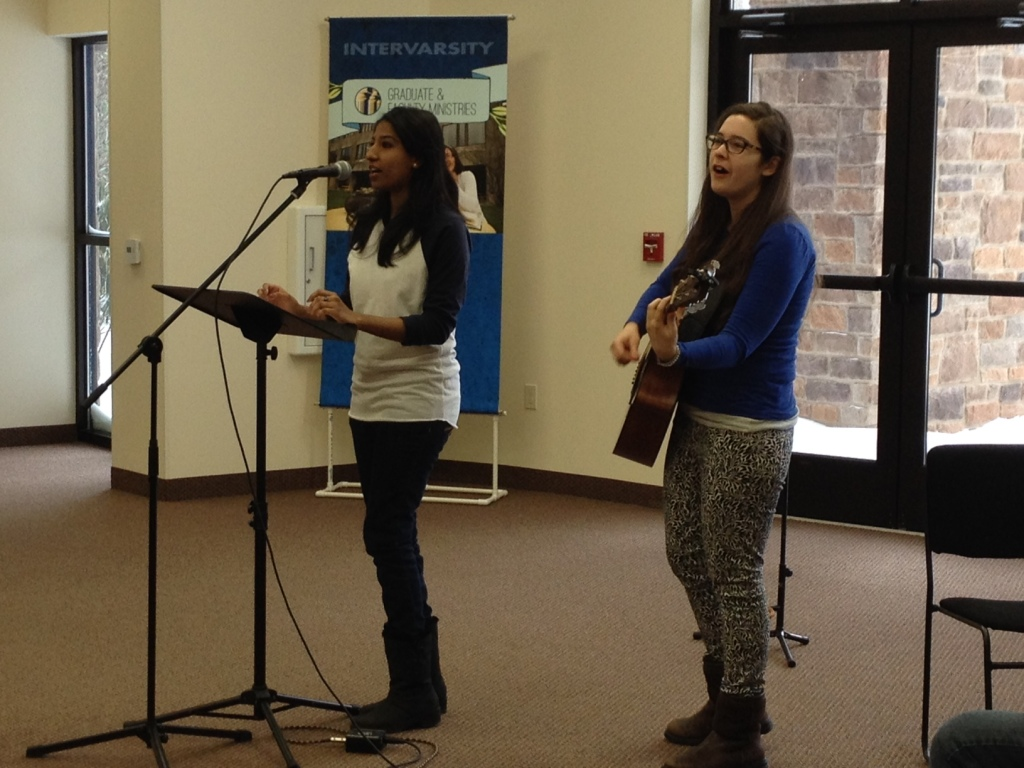 "Sarah Samuel and Jacquelyne Read sing ""Nothing But The Blood of Jesus,"" in Sarah's native tongue or Urdu. Sarah comes to NYU from Pakistan where she participated in one of InterVarsity's sister ministries, the Pakistan Fellowship of Evangelical Students.  The students and faculty at Telos '14 donated more than $5,000 to support two campus ministers with the PFES. Praise God!"
